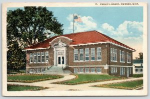 Owosso Michigan~Carnegie Public Library~Circular Walkway~Flag in the Breeze 1923