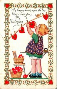 Hanging Hearts on the Line Valentine Embossed Vtg Postcard 1910s Carrington Co