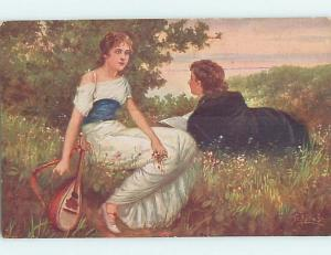 Pre-Linen signed PRETTY GIRL IN PASTURE PUTS DOWN HER GUITAR HL4277