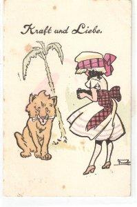 Ladt taking a photo of lion. Kraft und Liebe Old vintage German postcard