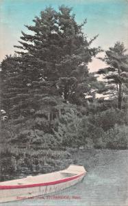 STURBRIDGE MASSACHUSETTS~BOAT BROOK & TREES PHOTO POSTCARD 1909