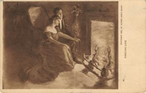Alfred James Dewey~Kindling Love~Romantic Couple Stoke the Fire~1909 Sepia PC