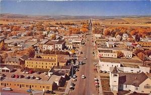 Craig CO Aerial View Downtown Area Old Cars Postcard
