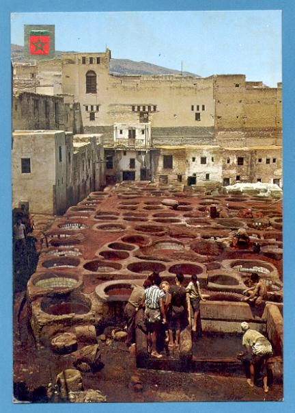 POSTCARD AFRICA MOROCCO FEZS DYERS & NATIVES 1960 YEARS