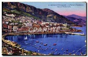 Old Postcard Monaco Principality Port Condamine and Monte Carlo View