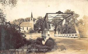 Augusta WI Iron River Bridge & Lutheran Church Real Photo RPPC Postcard