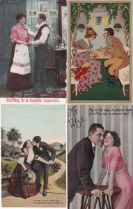 0140 Grabbag Auction 4 Romantic Couples Postcards Starting At .99