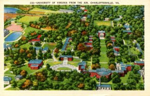 VA - Charlottesville. University of Virginia, Aerial View