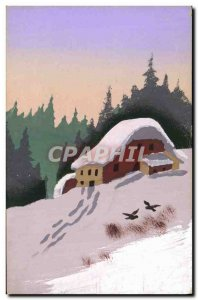 Old Postcard Fancy (drawing hand) House in the snow