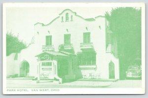 Van Wert Ohio~Park Hotel~Spanish Mission Style~Patio Tables~1940s Car~Postcard