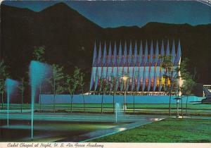 Colorado Colorado Springs Cadet Chapel At Night United States Air Force Academy