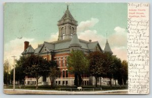 Hastings Nebraska~Adams County Courthouse~Sign on Lawn~1906 Postcard