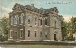 County Clerks Office Goshen New York Government Business Vintage Postcard 100 yr