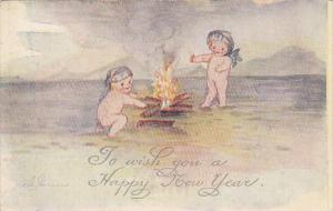 Garrns Happy New Yaer Naked Kids with Campfire