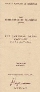 The Barber Of Seville Rossini 1951 Rochdale Manchester Opera Theatre Programme
