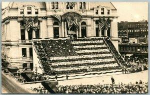 LIVING AMERICAN FLAG CITY HALL PROVIDENCE R.I. ANTIQUE REAL PHOTO POSTCARD RPPC
