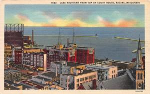 Lake Michigan from Court House, Racine, Wisconsin, Early Postcard, Unused