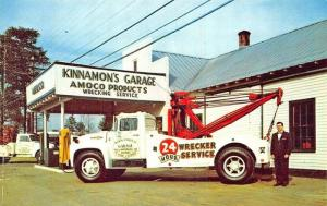 Williamsburg VA Kinnamon's Garage Amoco Gasoline Tow Trucks Wrecker Postcard