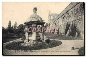 Old Postcard Chatillon Coligny Loiret Chateau sculpe the well by Jean Goujon