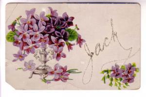 Name 'Jack' in Glitter with Vase of Violets, EPCM Printed in Saxony