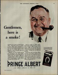 1927 Prince Albert Crimp Cut Tobacco Man Smoking Pipe Vintage Print Ad 3892