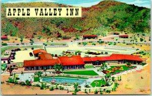 1950s California Postcard APPLE VALLEY INN Aerial View Pool Hotel Chrome Unused