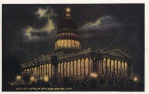 SALT LAKE CITY, Utah, 1910-1930s; State Capitol At Night