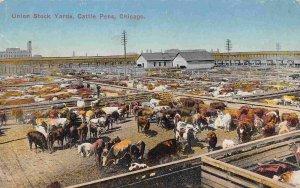 Union Stock Yards Cattle Pens Chicago Illinois 1910c postcard
