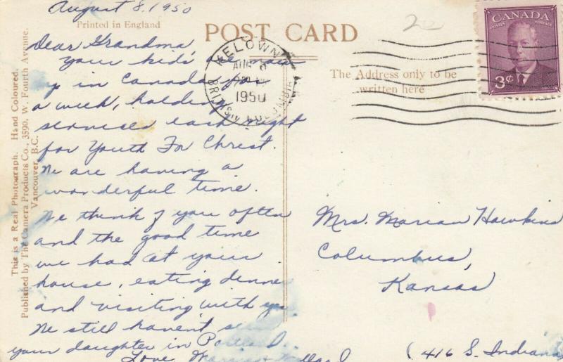 RP:  KELOWNA , B.C. , Canada , PU-1950 ; Okanagan Lake
