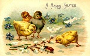Greeting - Easter. Chicks & Bug