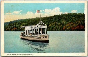 LAKE TANEYCOMO Missouri Postcard SAMMY LANE Boat Scene - Curteich / 1929 Cancel