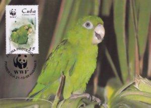 Cuban Parakeet Psittacidae Parrot Rare Stamp WWF FDC Postcard