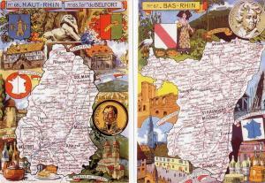 Vintage Repro France Map Postcards Bas-Rhin, Haut-Rhin, Lower & Upper Rhine 14D