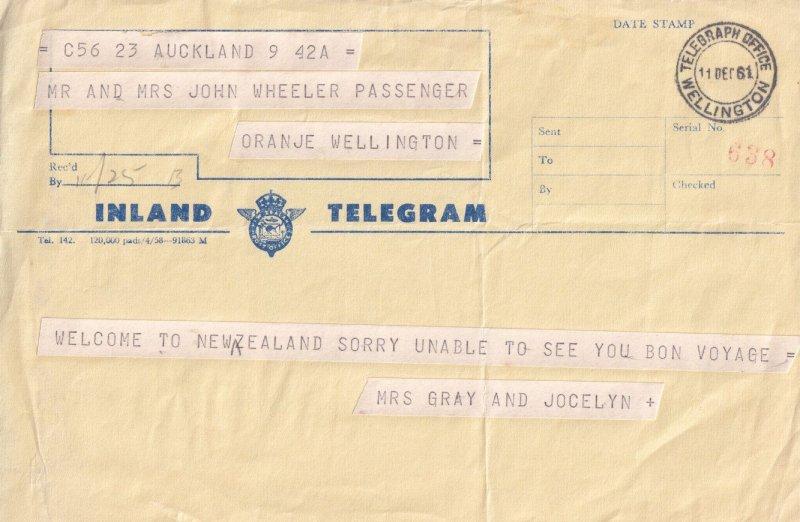 Bon Voyage Wellington Telegraph Post Office New Zealand 1960s Telegram