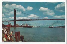 MI Detroit River FishingAmbassador Bridge Windsor Ontario Vtg Gridley Postcard