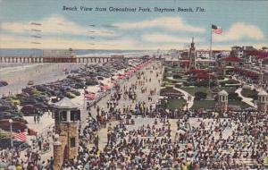 Florida Daytona Beach View From Oceanfront Park 1953