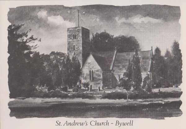 St Andrews Church Bywell Artist Painting Postcard