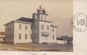 Early Iowa~High School~Basketball Hoop~Homes~Fence~1908 Real Photo~RPPC