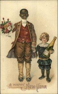New Year Black Man Servant Uniform & White Child c1910 Embossed Postcard
