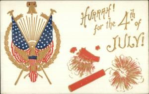 4th Fourth of July c1910 Postcard Gold Embossed Eagle Firecrackers