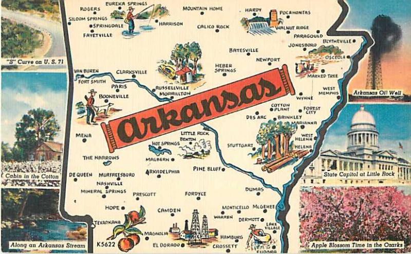 Arkansas Map Card Linen