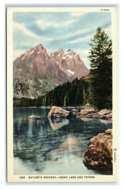 Postcard Nature's Rockery - Jenny Lake and Tetons WY linen G59