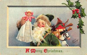 Christmas Santa Claus Green Suited Frances Signed Brundage Doll Postcard