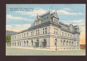 QUINCY ILLINOIS UNITED STATES POST OFFICE VINTAGE POSTCARD ILL. U.S.