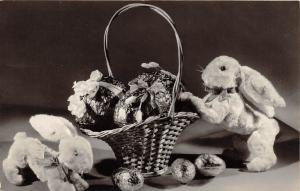 D58/ Easter Greetings Holiday Postcard 1966 Real Photo Rabbits Basket 4