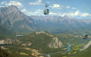 Sulphur Mountain Gondola Lift in Canadian Rockies - Alberta, Canada