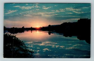 Colorful Sky And Water, Sunset Over Water, Chrome Postcard