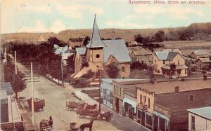 E17/ Sycamore Ohio Postcard 1911 Birdseye View Main St Church Delaplane Airship