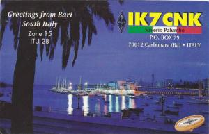 Greetings from Bari, Zone 15 ITU 28, IK7CNK, Saverio Palumbo, South Italy, 40...