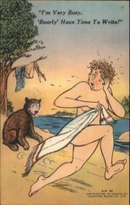 Naked Woman w/ Towel Scared Off by Bear Comic Postcard